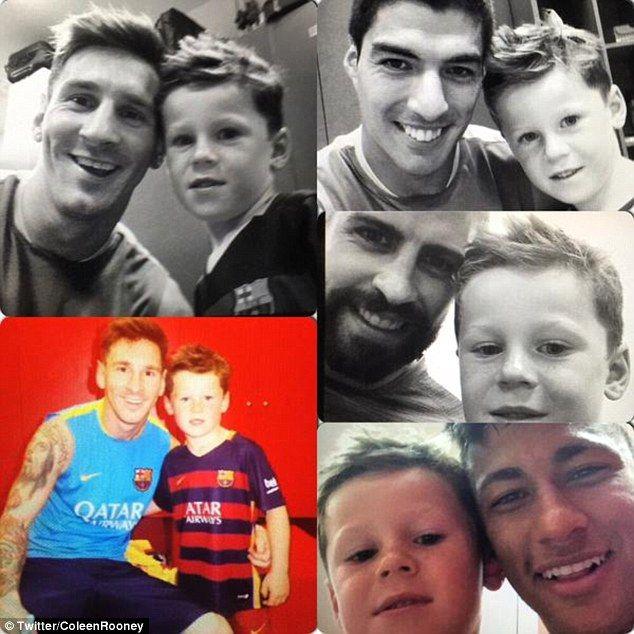 Kai Rooney had his photo taken with Lionel Messi, Luis Suarez, Gerard Pique and Neymar...