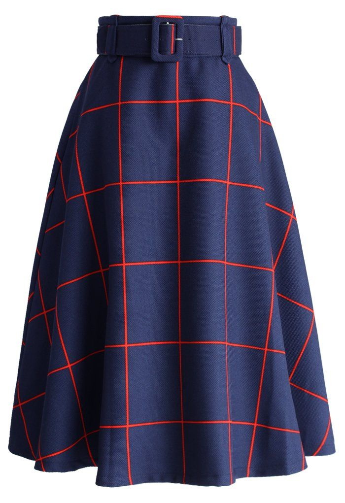 Sway the Plaids Belted Midi Skirt in Navy - CHICWISH