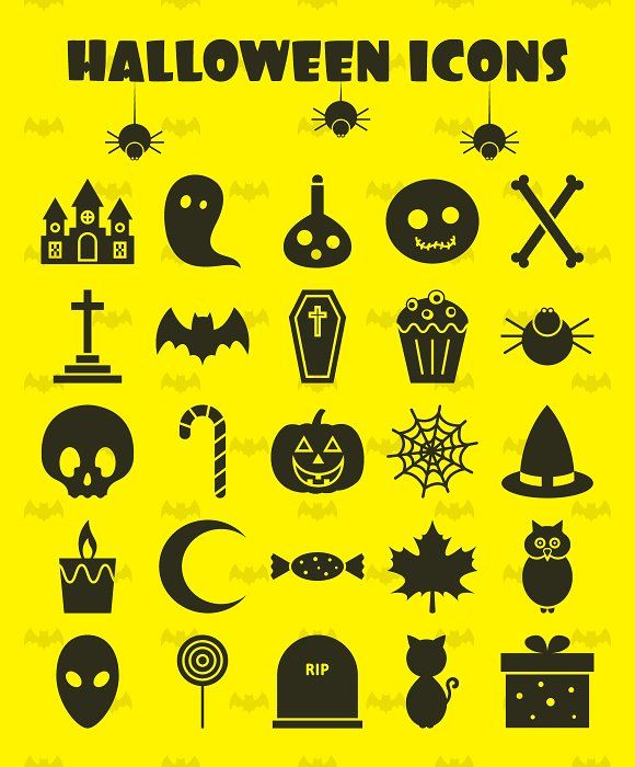 25 Halloween Icons  by Nadezda Gudeleva on @creativemarket