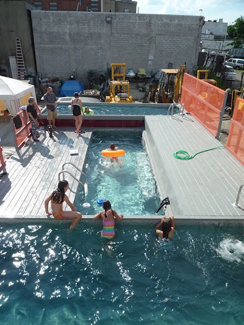 Sunken shipping container as a swimming pool. Love it.