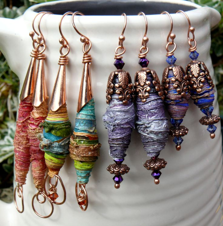 Earrings with beads made from textiles