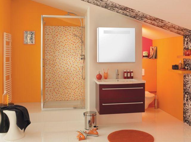 Les 25 meilleures id es concernant salles de bains oranges for Salle de bain orange et gris
