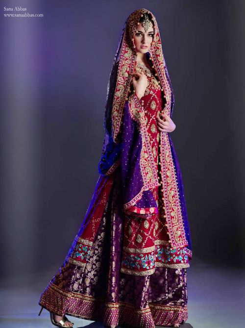 Bright purple and red lehnga for brides