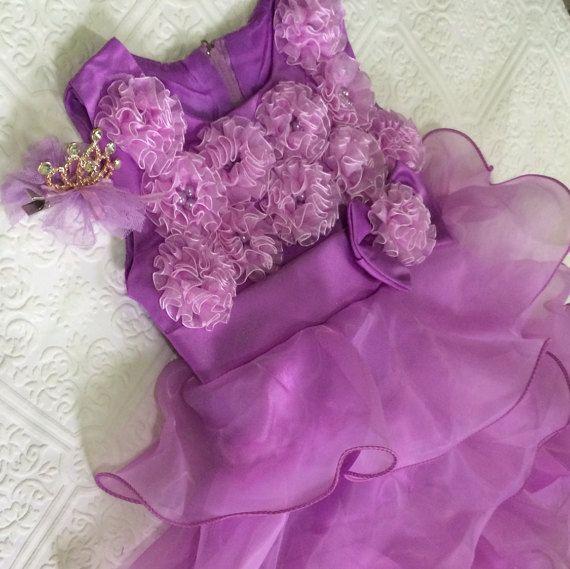 Purple flower girl dress purple chiffon dress by BazzyBears