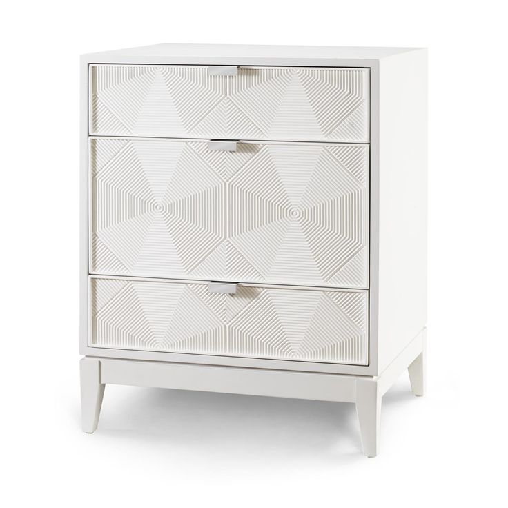 Borneo 3-Drawer Side Table, White - Bungalow 5