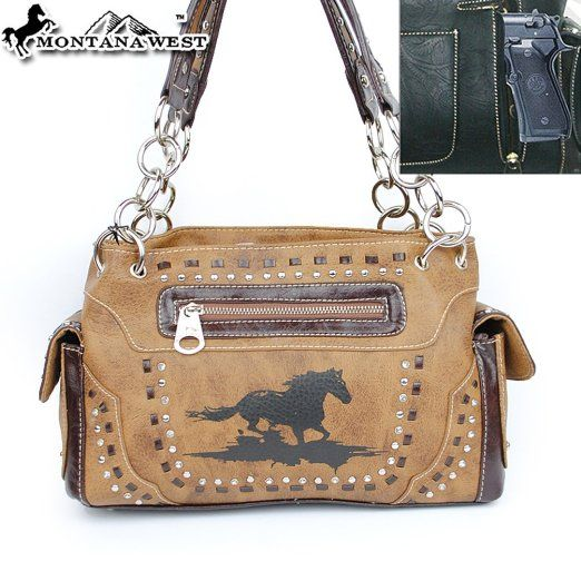 Amazon.com: Montana West Cow Girl Concealed Carry / Gun Pocket Horse Print Woven Western Shoulder Handbag Purse in Brown: Clothing