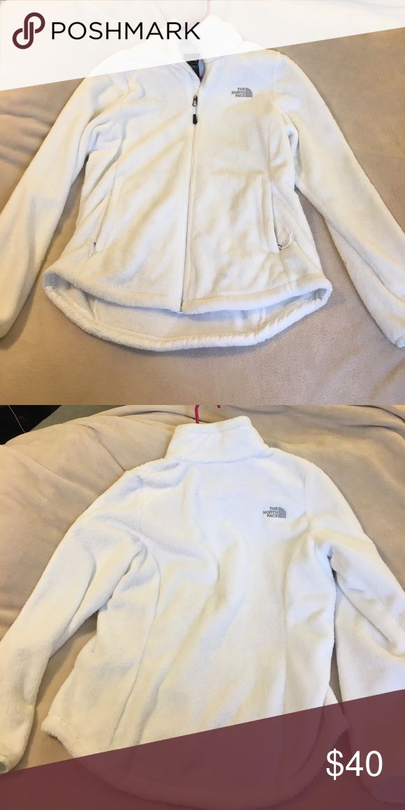 Women's North Face Fleece Jacket Size L women's white north face soft fuzzy jacket. This jacket is really beautiful and in great condition. Has only been worn twice and washed once. The North Face Jackets & Coats