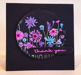 handmade thank-you card ... black base card ... white embossed meadow flowers ... Copic colors on top ... neon color look ... lovely ... Hero Arts stamp ...