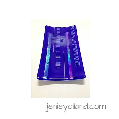 blue and sparkling iridized platter titled Blue Bride in India by jenie yolland.