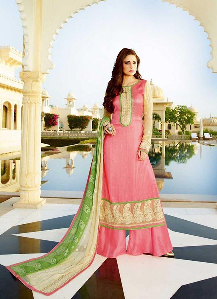 Pink wedding wear tussar silk Indian palazzo kameez suit