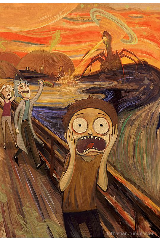 lothlenan:    Just another stroll through the park with your grandpa    This was a struggle. Adapting the Expressionist style in to a Rick and Morty piece was like omg. I spent way longer on this than I shouldve. Expressionism is hard man. -________________-   Based on the painting The Scream (of Nature) by Edvard Munch.