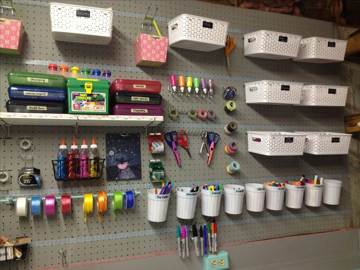 Craft storage. Peg board storage. Utility room.