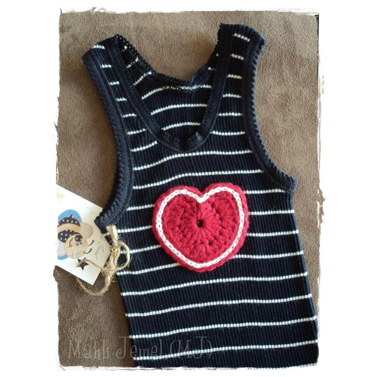 $18.00 GT2066 Sz 0 girls singlet with crochet heart by MahliJewelMJ on Handmade Australia