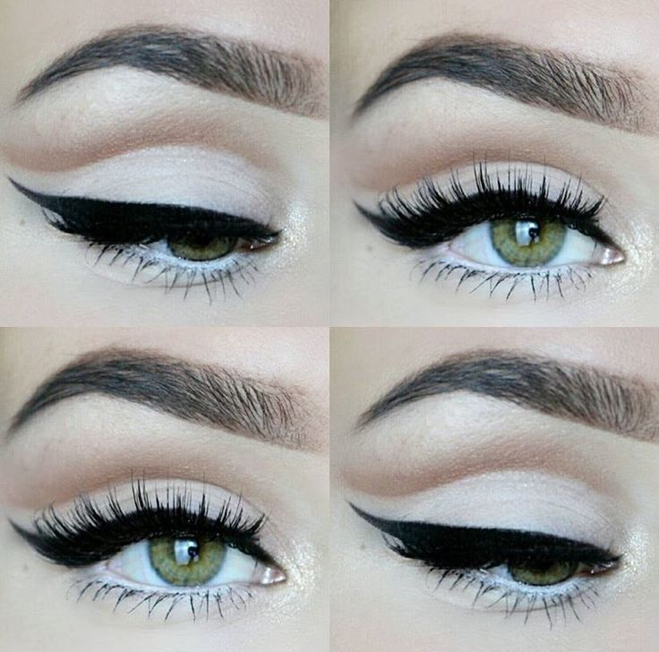 Soft cut crease, winged liner.