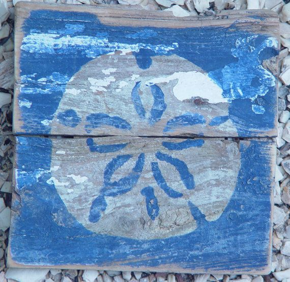 Shabby chic wall art Sandollar on Reclaimed Picket by ACleverSpark, $28.00