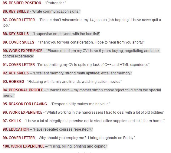 33 best CV Clangers images on Pinterest Curriculum, Mistakes and - common resume mistakes