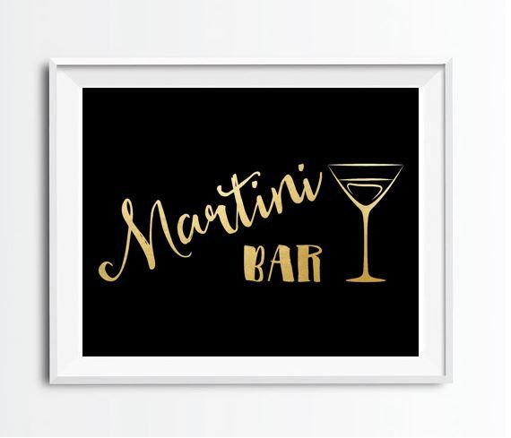 8 x 10 Printable Martini Bar Sign in black and fold. $5 on Etsy.