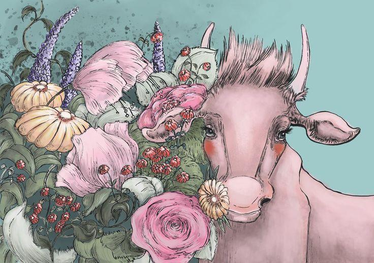 """""""lovely flowers, lovely cow"""" - artwork by eileen marie tretter - sashura art"""