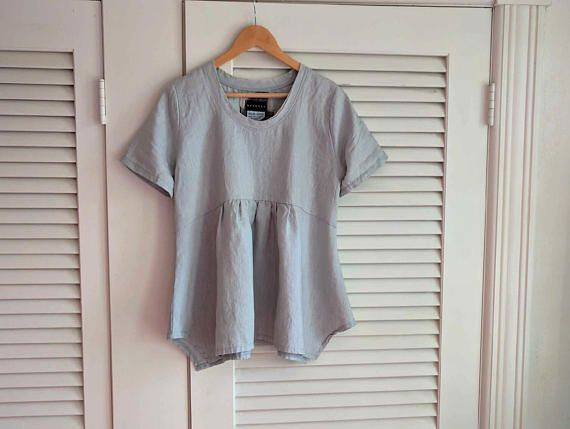 SALE/In Stock - S/M Dove Grey Linen 'Iberia' Blouse / by Breathe Clothing