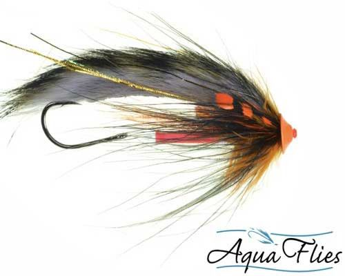 Aqua Flies - Stu's Tiger Tail Turbo Cone Steelhead Tube Fly Fishing Fly - Black Orange - Set of 3 Flies