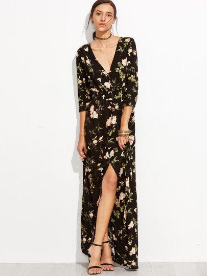 Robe col V imprimé floral - noir