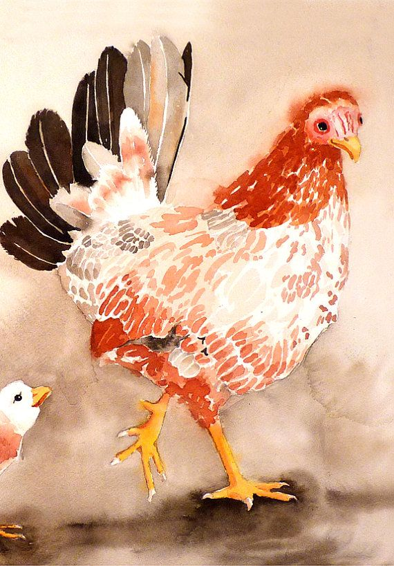 Chicken Art Watercolor painting print of hens Whimsical by LaBerge