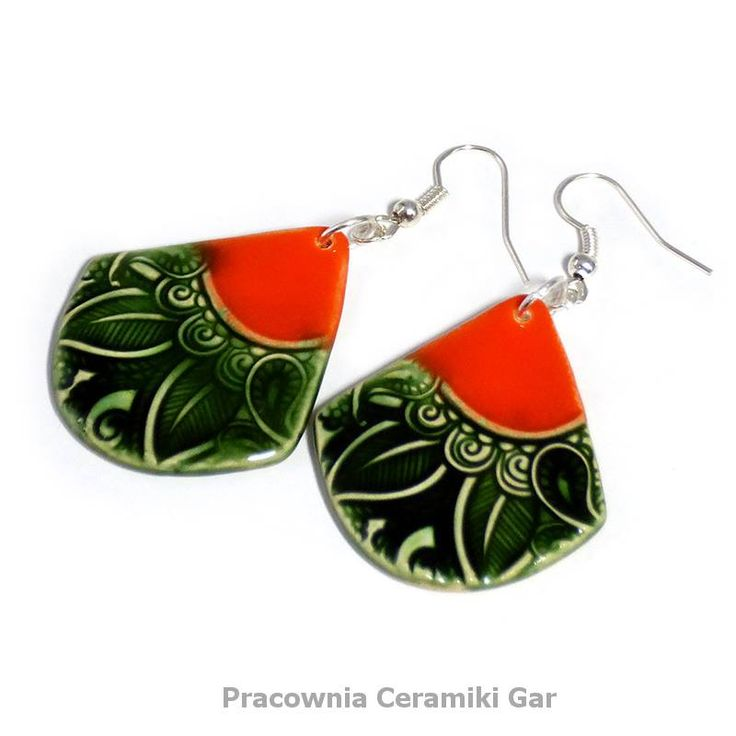orange and green ceramic jewerlly , ethnic earrings