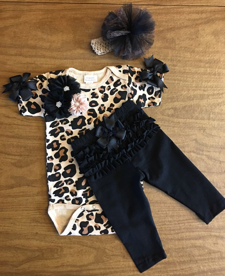 Baby Girl Leopard Outfit,  Newborn Girl Take Home Outfit, Baby Girl Animal Print Outfit, Girls Hospital Outfit, Baby Girl Shower Gift by KeepsakeKonnections on Etsy https://www.etsy.com/listing/234082361/baby-girl-leopard-outfit-newborn-girl