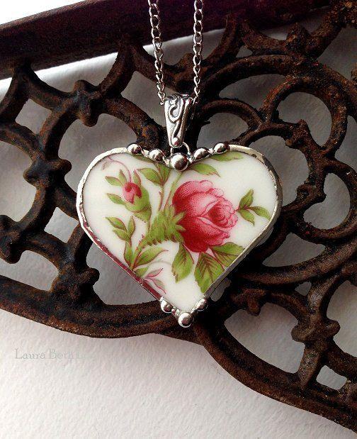Broken china jewelry heart pendant necklace antique Haviland moss rose porcelain fine china