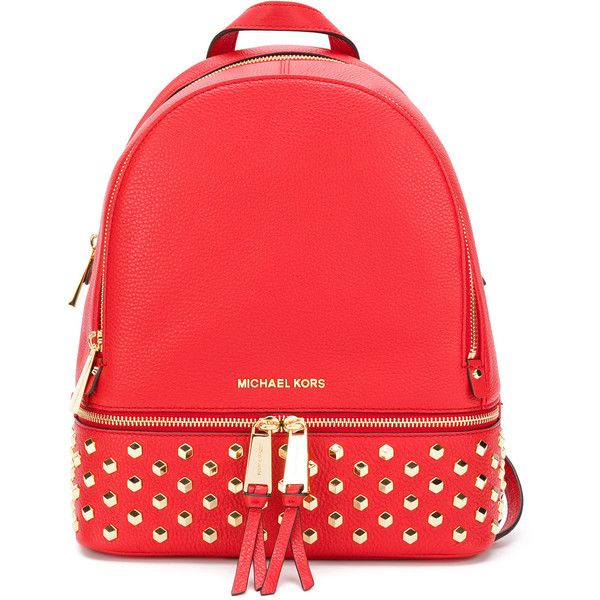 Michael Michael Kors Rhea studded backpack (£295) ❤ liked on Polyvore featuring bags, backpacks, red, backpack bags, studded leather backpack, studded bag, genuine leather bag and day pack backpack