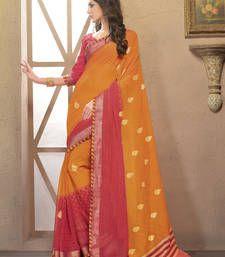 Buy Orange printed chiffon saree with blouse party-wear-saree online