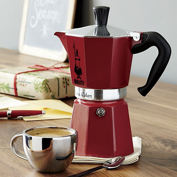 Simply ingenious, the time-honored Italian stovetop coffee maker is re-interpreted in rich red. Just fill the base of this espresso-lover's essential with water and the filter with ground coffee or espresso and place on any heating surface. Water is forced upward through the coffee, percolating a fresh pot in minutes.