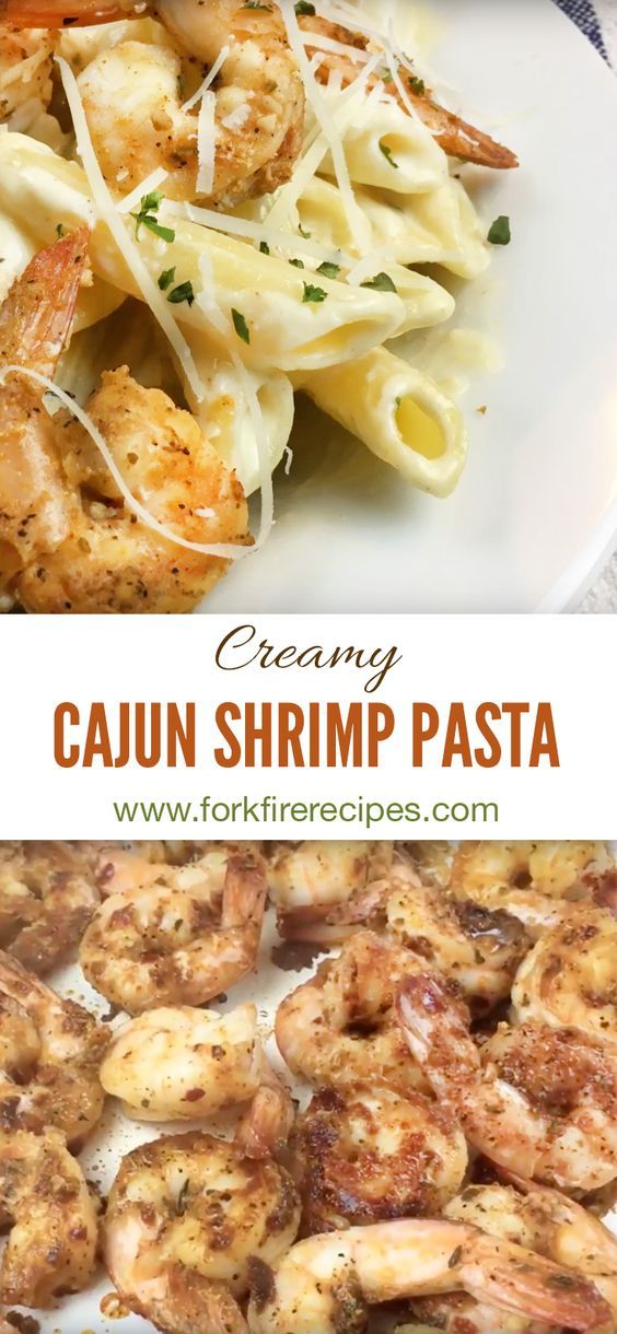 Creamy penne alfredo pasta topped with spicy cajun seasoned shrimp! Yum! This cheesy, flavorful combination is easy to prepare and a family favorite.