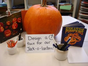 Halloween - design a face for the pumpkin at a centre. Could introduce with a Smartboard interactive activity