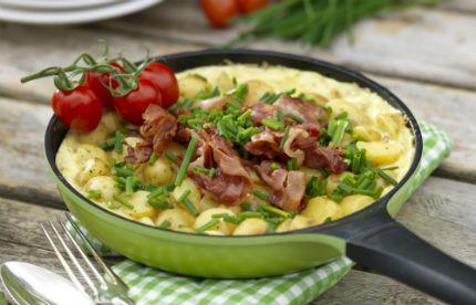 Matig tortilla med bacon