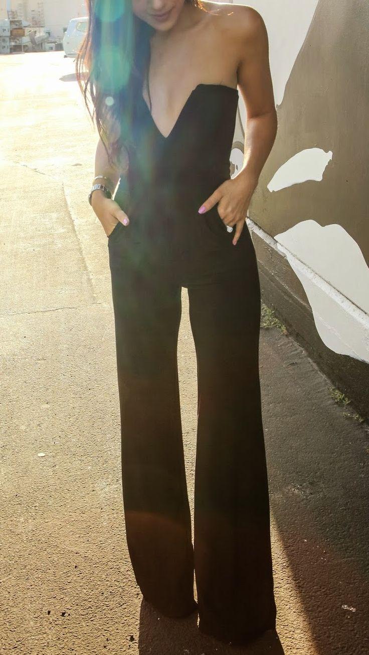 Black strapless jumpsuit.