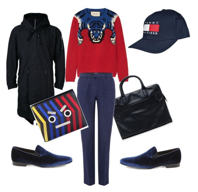 """tiger"" by m-elizarjeva on Polyvore featuring Gucci, Armani Collezioni, Steve Madden, Kazuyuki Kumagai, Tommy Hilfiger, Fendi, men's fashion and menswear"