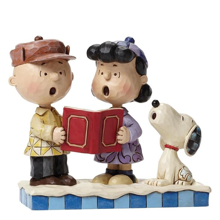 Jim Shore Peanuts Charlie Lucy and Snoopy Carolling Figurine Christmas Ornament…