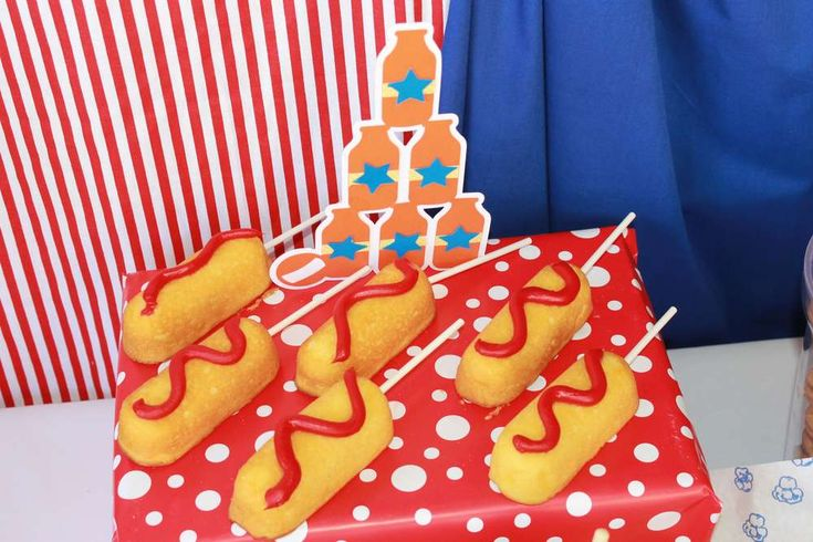 "Twinkie ""corn dogs"" at a circus birthday party! See more party ideas at CatchMyParty.com!"