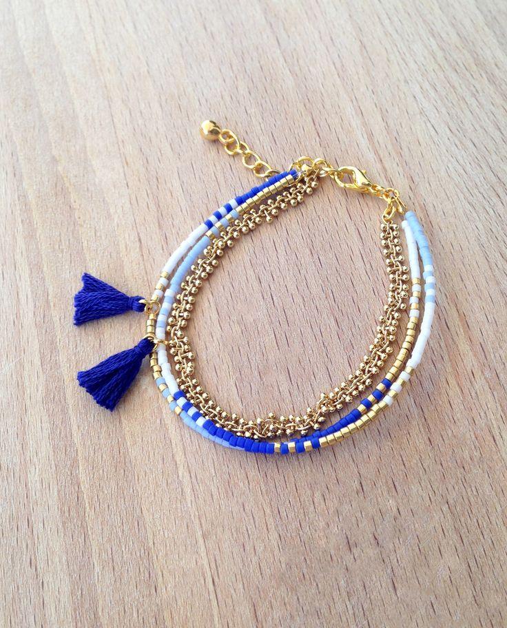 Bracelet bleu multi rangs perles miyuki et chaine dorée grappe HQ : Bracelet par an-ou-shka
