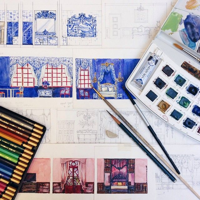 Can't wait to make them real… #hotel #suites #design #watercolor #sketch #stroganovhotel #interiordesign #azulejos #chocolate