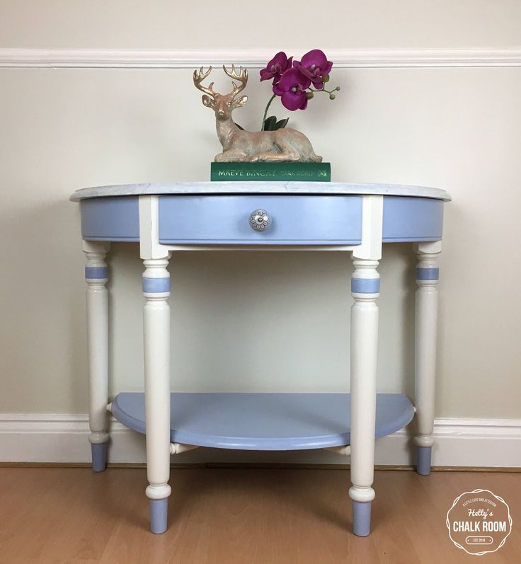 Hand painted 'Hampshire' Ducal Demi Lune table finished in Annie Sloan Chalk Paint. by HettysChalkRoom on Etsy https://www.etsy.com/uk/listing/568435067/hand-painted-hampshire-ducal-demi-lune