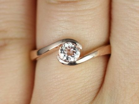 Petite Vadim 14kt Rose Gold Round Morganite Single Twist Engagement Ring (Other Metals and Stone Options Available)