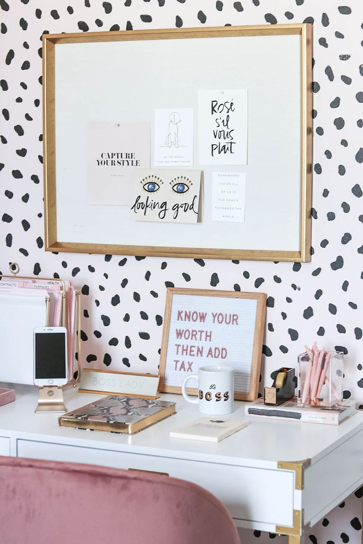 Blogger Office, Neutral Office, Blush Office, Blush Home Decor, Blush Blogger Office, Spotted Walls, Spotted Wall Stencil, Velvet Chair, Velvet Office Chair, White and Gold Desk, Campaign Desk