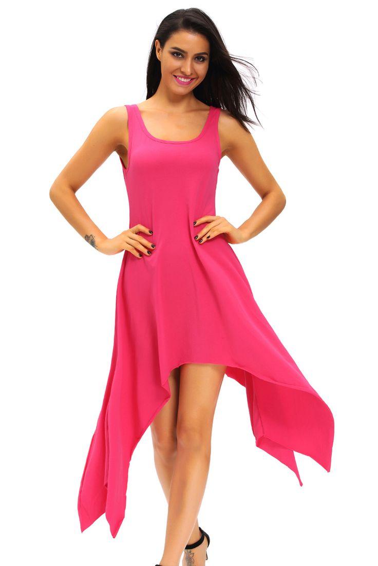 Midi Robes Rose Symmetrical Robe Flare Pas Cher www.modebuy.com @Modebuy #Modebuy #Rose #dress #me #sexy