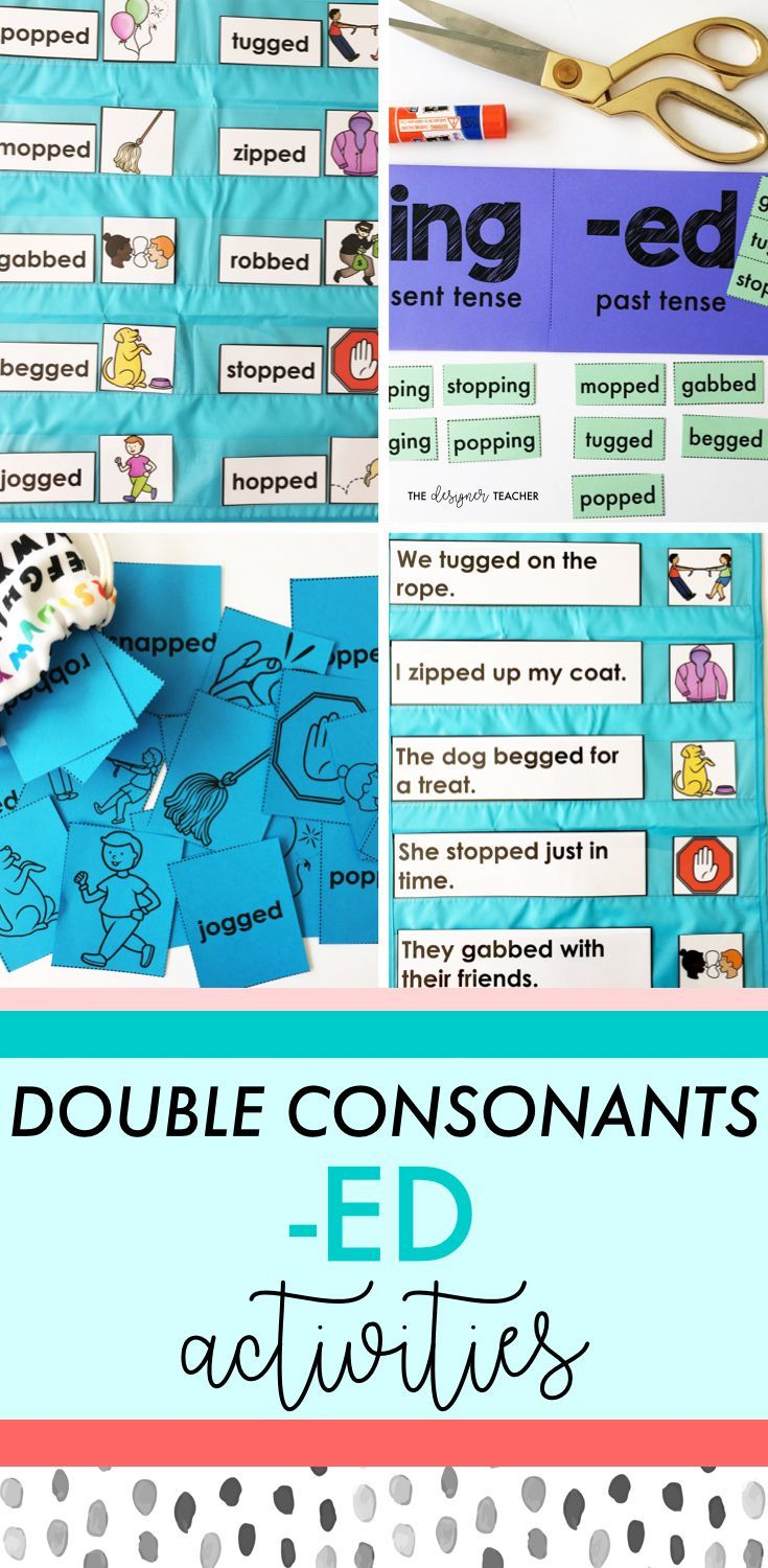 Get everything you need to teach students how to read and spell past tense double consonant words with inflectional ending -ED with this comprehensive mini unit. Includes phonics lesson plans, posters, foldables, games, independent work, and more.