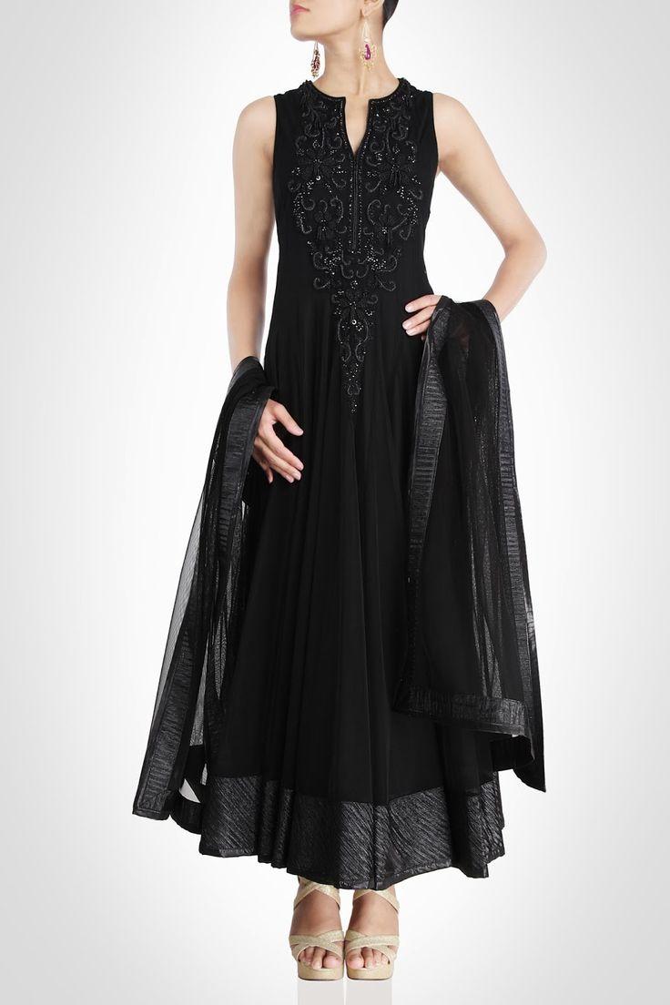 Black color long anarkali suit – Panache Haute Couture