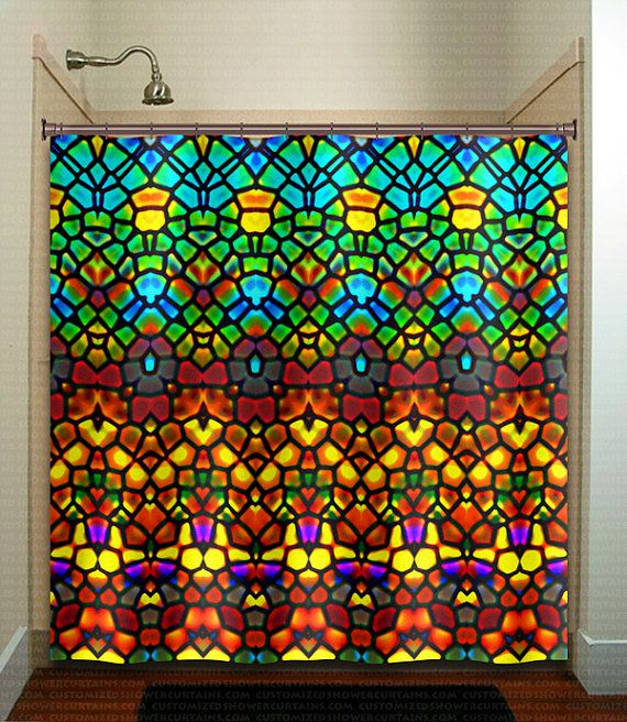 Stained Glass Shower Curtain Extra Long Fabric Window Panel Kids Bathroom Decor Custom