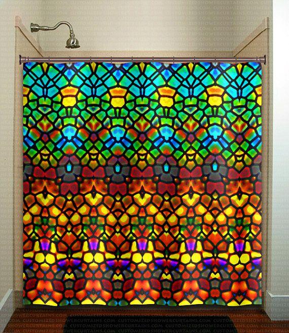 Stained Glass Shower Curtain Extra Long Fabric Window Panel Kids Bathroom Decor Custom
