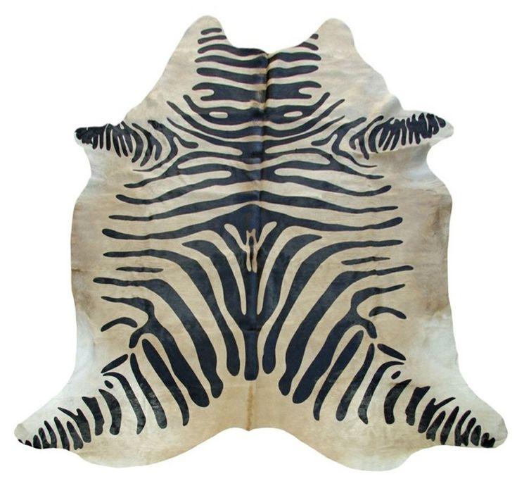 Alfombra Piel de Vaca Estampado Cebra CO-812 Zebra Printed Cow Skin Rug